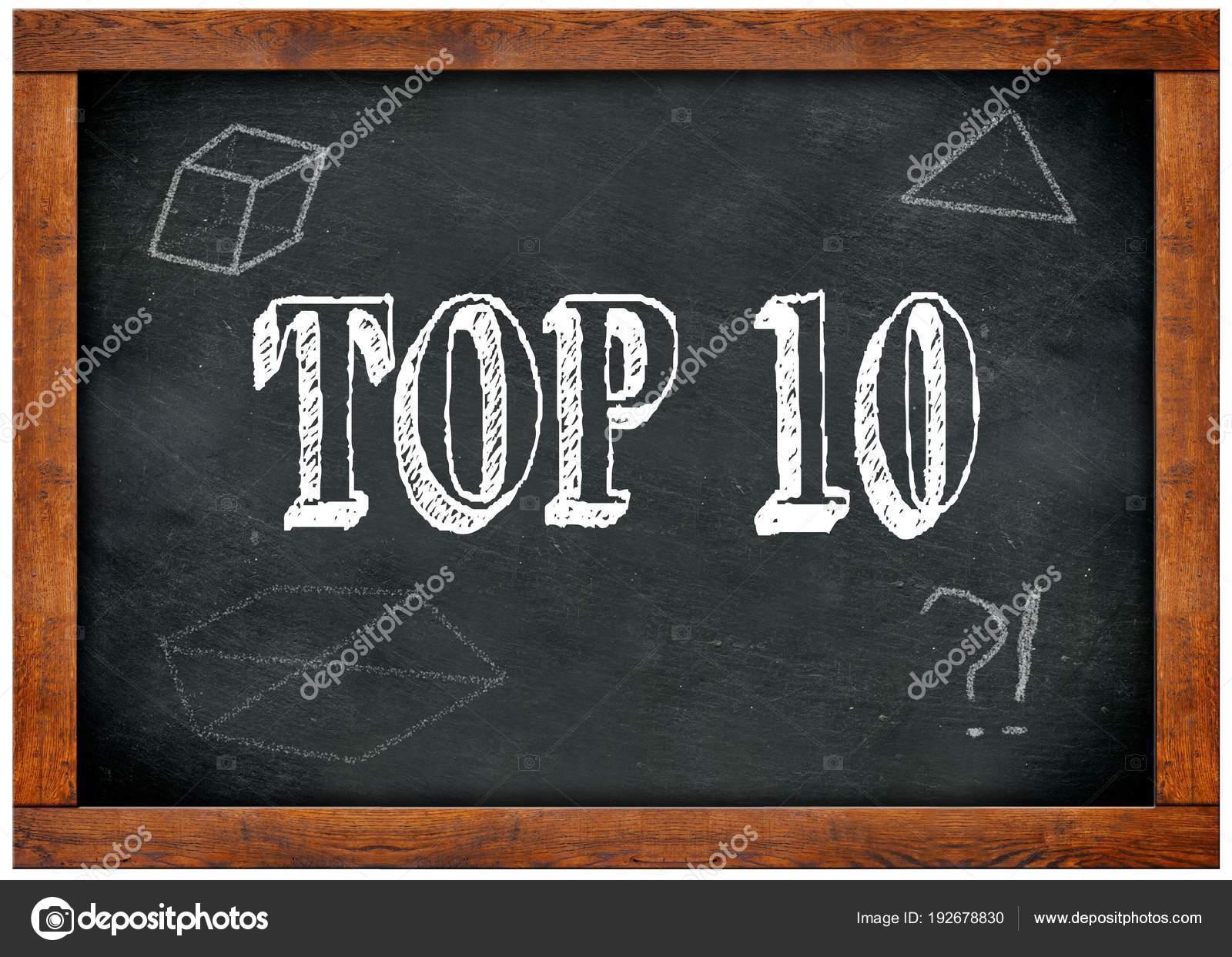 Pizarra marco madera con Top 10 texto escrito con tiza — Fotos de ...