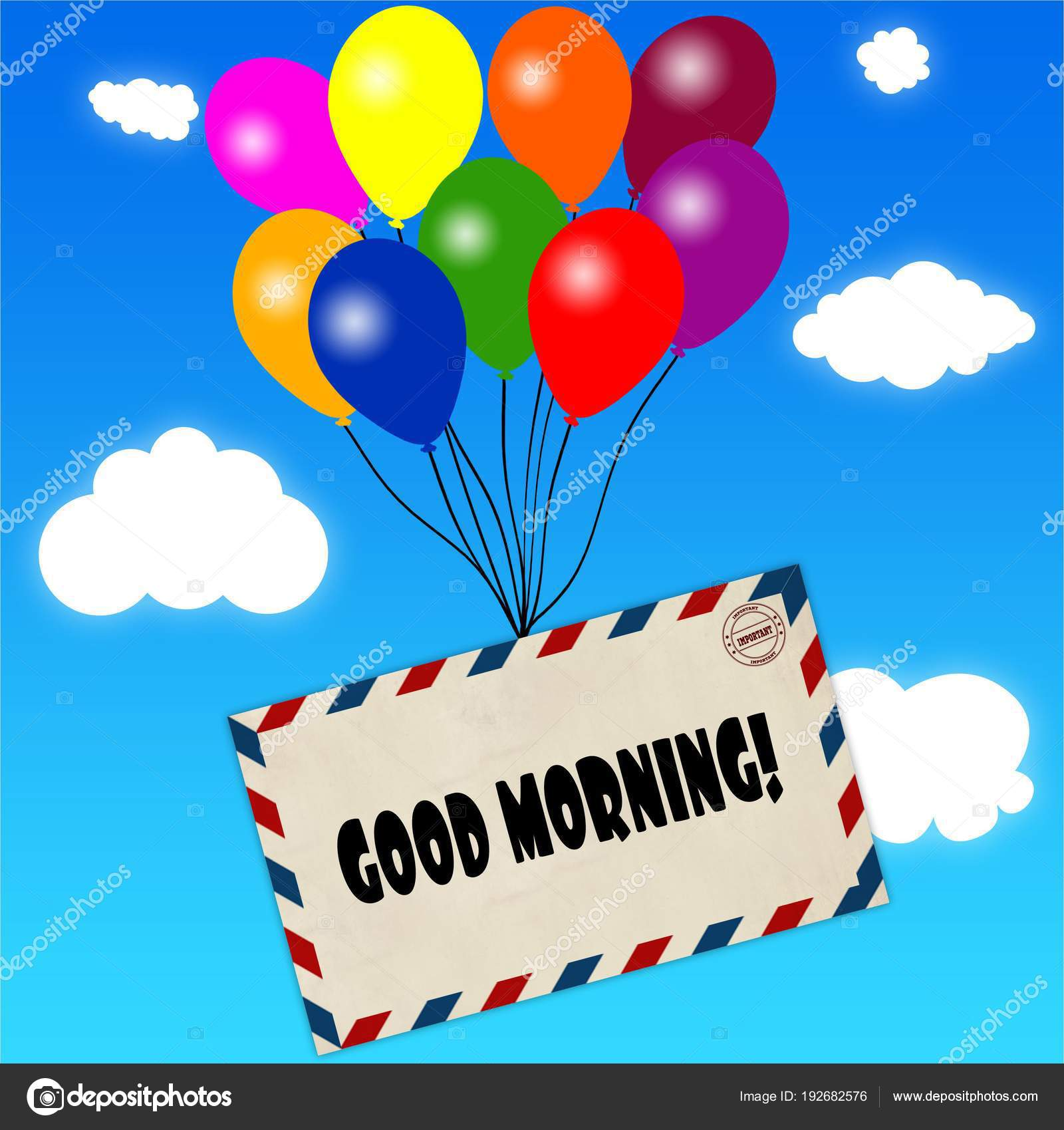 Envelope with GOOD MORNING message attached to multicoloured