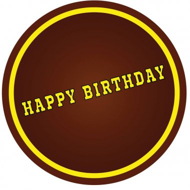 Round, brown and yellow, HAPPY BIRTHDAY stamp on white backgroun