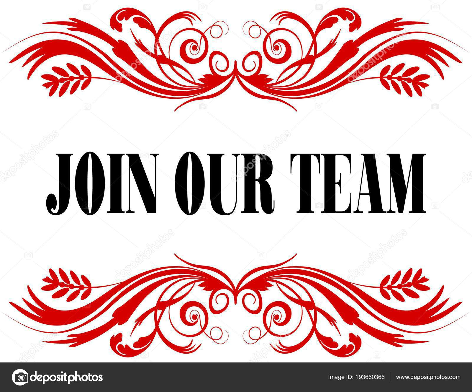 JOIN OUR TEAM red floral text frame. — Stock Photo © ionutparvu ...