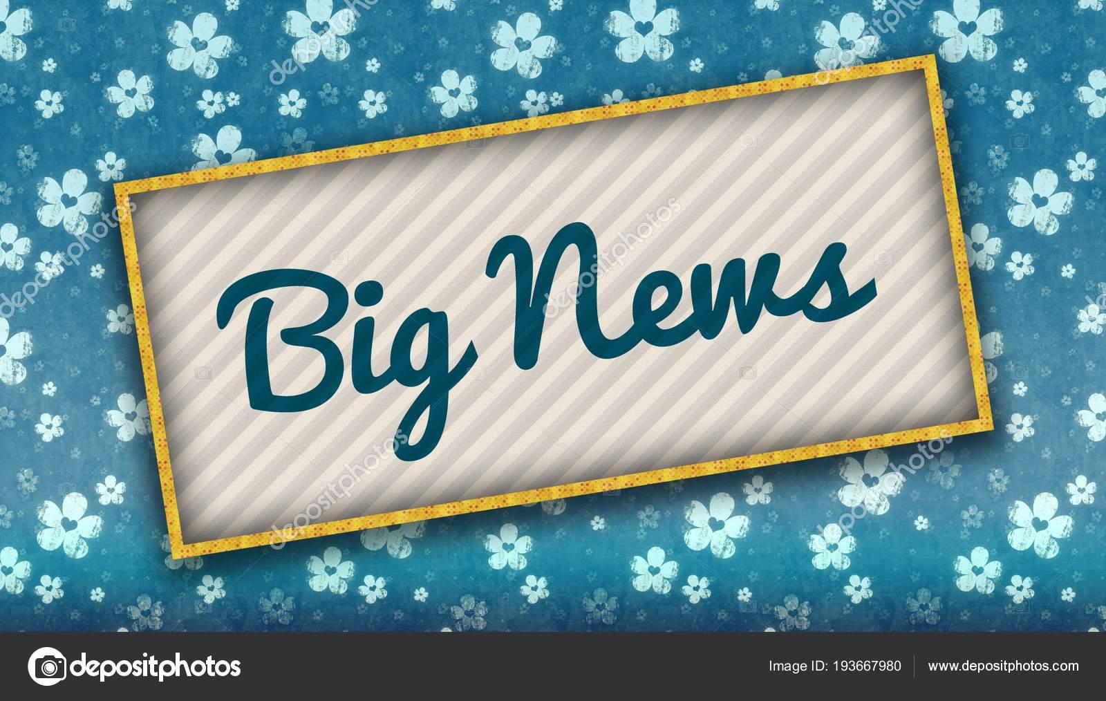 花と青い壁紙にビッグ ニュース メッセージと絵画 ストック写真 C Ionutparvu