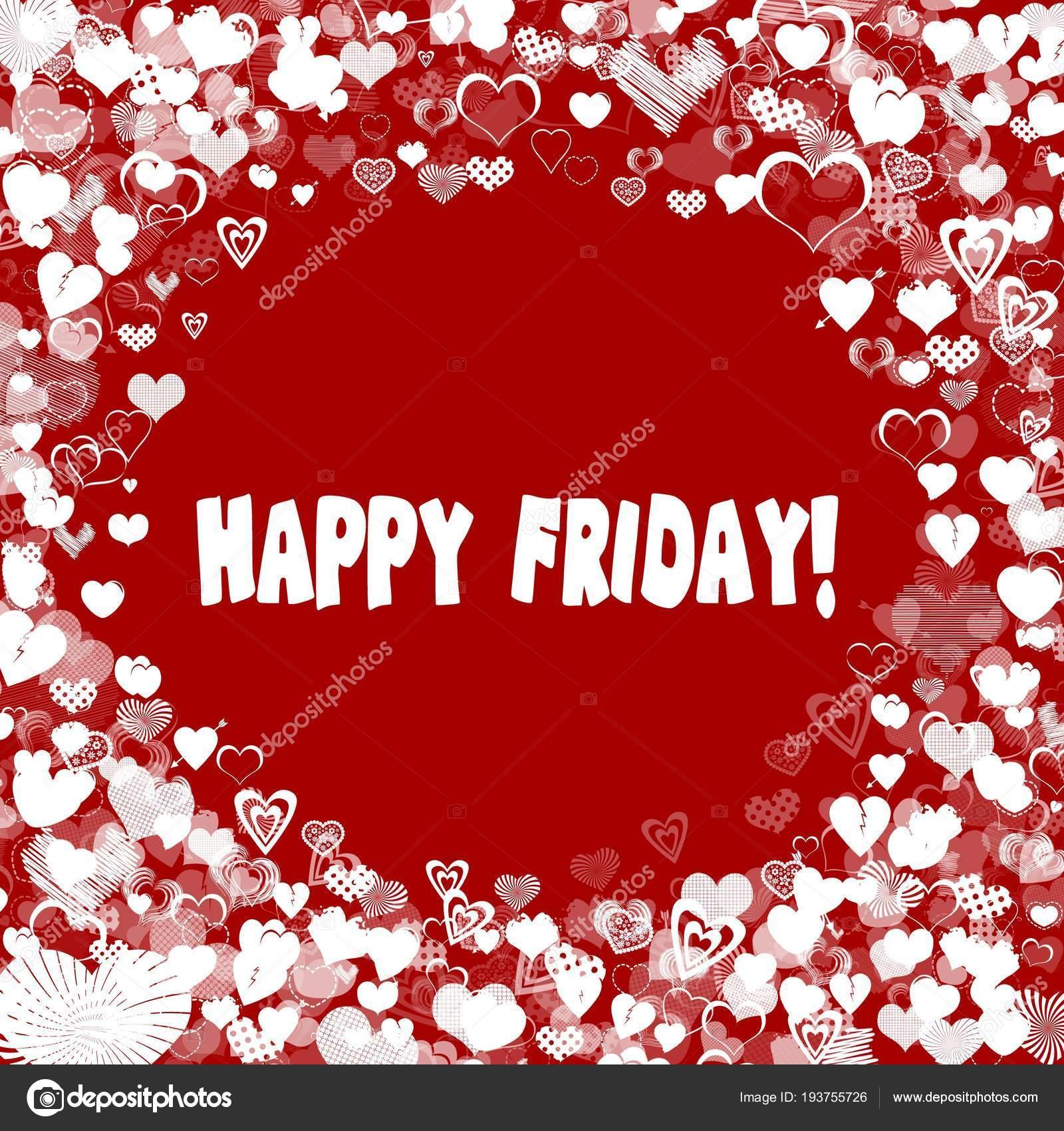 Marco de corazón con texto de feliz viernes sobre fondo rojo — Fotos ...