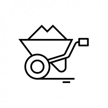 Cargo cart line icon, concept sign, outline vector illustration, linear symbol.