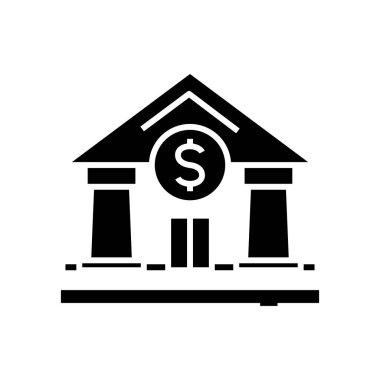 Bank building black icon, concept illustration, vector flat symbol, glyph sign.
