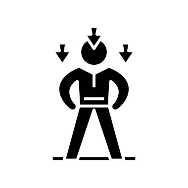 Decreasing potential black icon, concept illustration, vector flat symbol, glyph sign.
