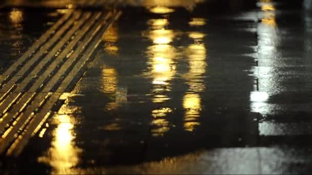 Rain Dropes In Sidewalk