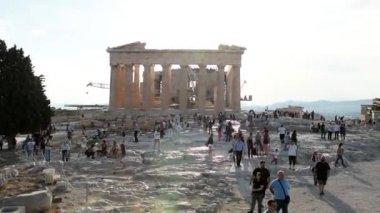 Tourists inside acropolis of athens