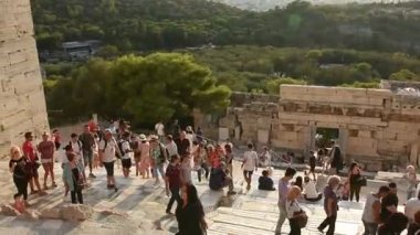People on entrance of acropolis