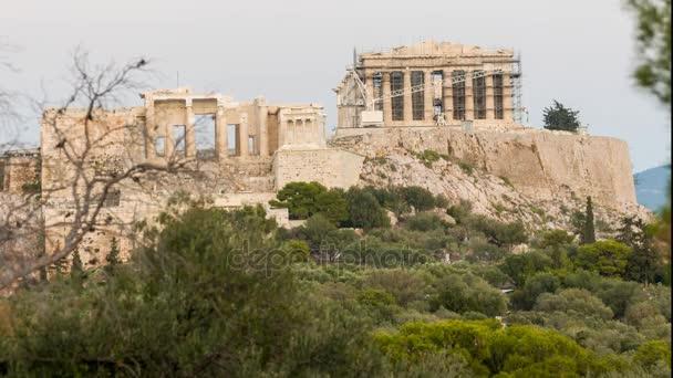Pohled zepředu časová prodleva Akropole poledne do noci