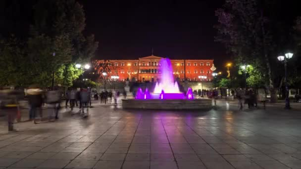 syntagma square time lapse with orange color of parliament because against of violance for womens