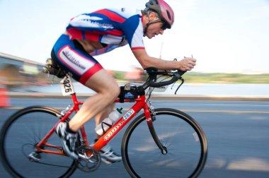 Cyclist Competing in Triathlon