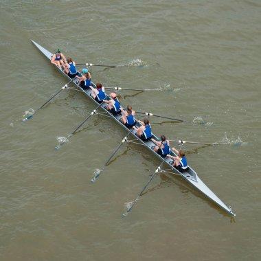 Eight-woman scull in a regatta stock vector