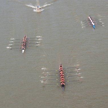 Aerial view of a regatta stock vector