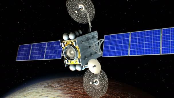 Sci-fi space laser weapon in orbit of Pluto