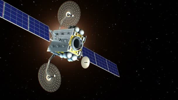 Fictional space satellite is approaching Earth, 3d animation. Texture of the Earth was created in the graphic editor without photos and other images. The pattern of the city lights furnished by NASA.