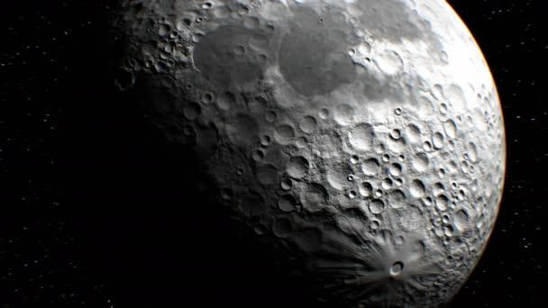 A háttérben, kitalált megfigyelési műholdas Moon legyek múlt, 3D-s animáció. Textúra a Hold jött létre, a grafikus szerkesztő, fotók és egyéb képek nélkül