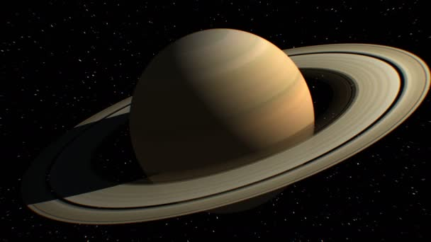 Saturn on background, fictional observation satellite flies past, 3d animation. Texture of the Planet was created in the graphic editor without photos and other images.