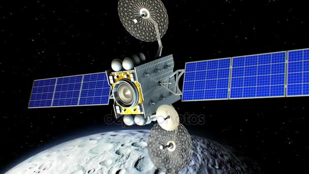 Space laser weapon. Moon on background, fictional military satellite on orbit shoots from a sci-fi gun, 3d animation. Texture of the Moon was created in the graphic editor.