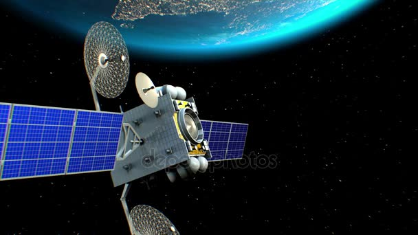 Fictional artificial satellite in Earth orbit, 3d animation. Texture of the Earth was created in the graphic editor, the pattern of the city lights furnished by NASA.
