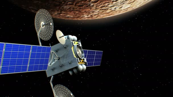 Fictional artificial satellite in Mercury orbit, 3d animation. Texture of the Planet was created in the graphic editor.