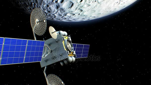 Fictional artificial satellite in Moon orbit, 3d animation. Texture of the Moon was created in the graphic editor.