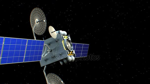 Fictional artificial satellite among stars, 3d animation.