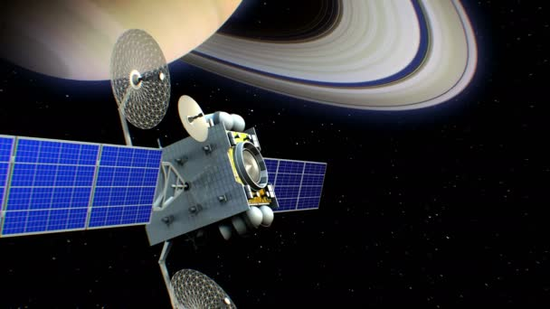 Fictional artificial satellite in Saturn orbit, 3d animation. Texture of the Planet was created in the graphic editor.