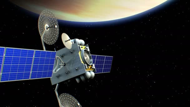 Fictional artificial satellite in Venus orbit, 3d animation. Texture of the Planet was created in the graphic editor.