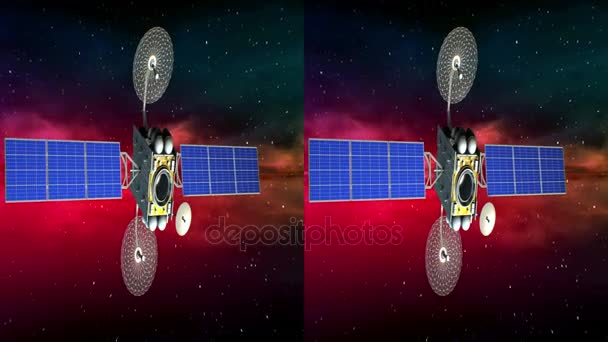 Horizontal anamorphic stereo pair, fictional artificial satellite rotates on background of abstract space nebula, seamless loop, 3d animation