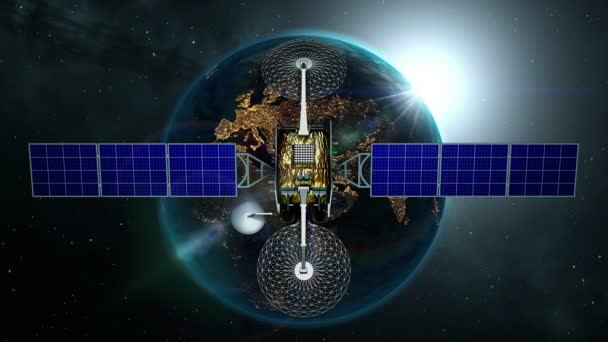 Fictional artificial satellite is approaching Earth with sunrise, 3d animation