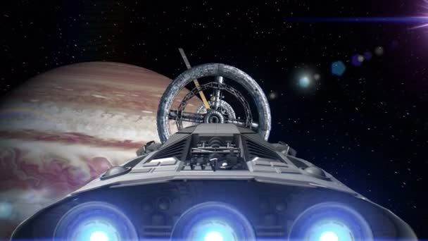 Spacecraft with pulsate engines flying into a space station door on background of Jupiter, 3d animation. Texture of the planet was created in the graphic editor without photos and other images.
