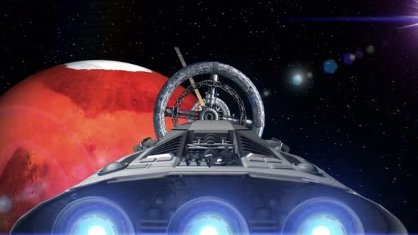 Spacecraft with pulsate engines flying into a space station door on background of Mars, 3d animation. Texture of the planet was created in the graphic editor without photos and other images.