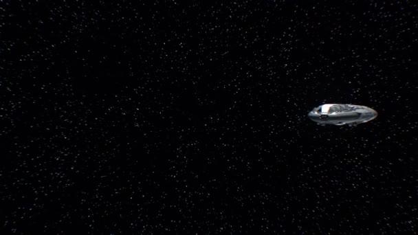 Reise zum Merkur, Science-Fiction-Raumschiff nähert sich dem Planeten, Motoren pulsieren, 3D-Animation. Textur des Planeten wurde im Grafikeditor ohne Fotos und andere Bilder erstellt.