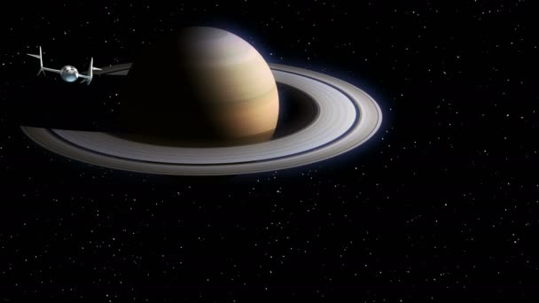 Fictional spaceplane returns from travel to Saturn. Concept of spaceship for space tourism. 3d animation. Texture of the Planet was created in the graphic editor without photos and other images.