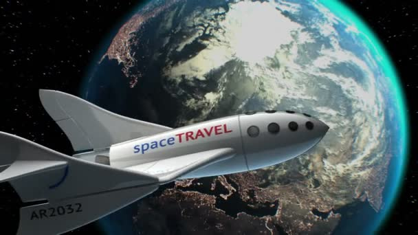 Fictional spaceplane on orbit of Earth, concept of spaceship for space tourism, 3d animation. Texture of Earth was created in graphic editor without photos. Pattern of city lights furnished by NASA