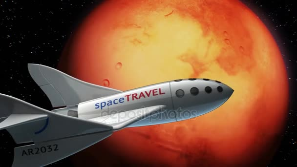 Fictional spaceplane on orbit of Mars, concept of spaceship for space tourism, 3d animation. Texture of the Planet was created in the graphic editor without photos and other images.