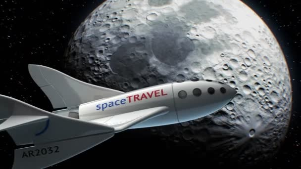 Fictional spaceplane on orbit of Moon, concept of spaceship for space tourism, 3d animation. Texture of the Moon was created in the graphic editor without photos and other images.
