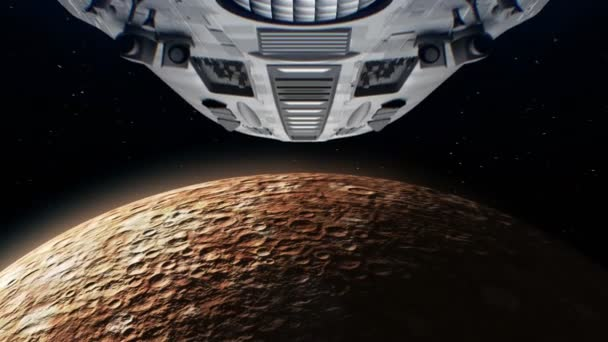 Alien spaceship is approaching Mercury  Bright engines flashing, 3d  animation  Texture of the Planet was created in the graphic editor without  photos and other images