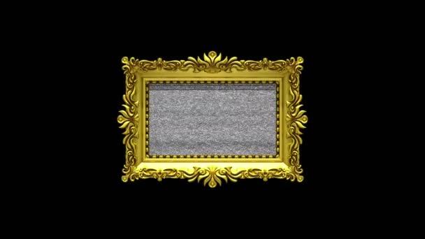Kamera közelítsen az arany képkeret fekete háttér. TV zaj és zöld chroma-kulcs játszik a képernyőn. 3D animáció.