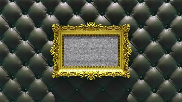 Kamera zoomt in den goldenen Bilderrahmen auf dem Hintergrund luxuriöser schwarzer Polster. Fernsehgeräusch und grüne Chroma-Taste spielen auf dem Bildschirm. 3D-Animation.