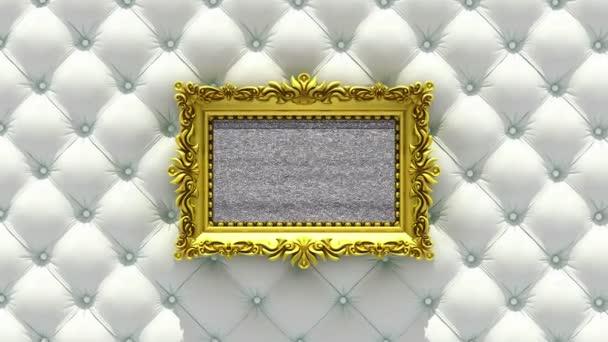 Kamera-Zoom in der gold Bilderrahmen auf Hintergrund von Luxus weißen Polster. TV-Lärm und grün-Chroma-Key spielt auf dem Bildschirm. 3D animation