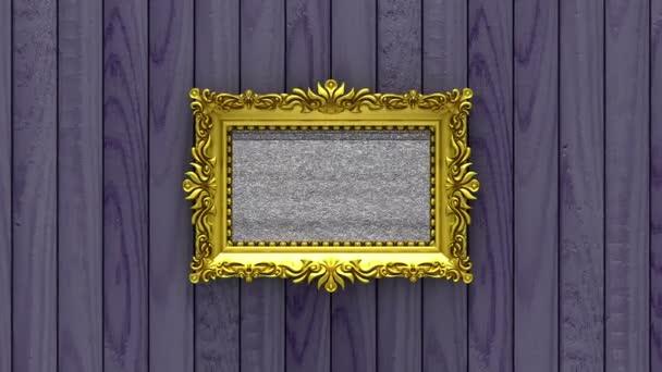 Kamera zoom be az arany képkeret fa lila háttér. TV zaj és zöld chroma-kulcs játszik a képernyőn. 3D animáció.