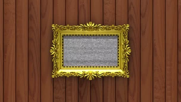Camera zoom into the gold picture frame on background of brown wood. Tv noise and green chroma key plays on the screen. 3D animation.