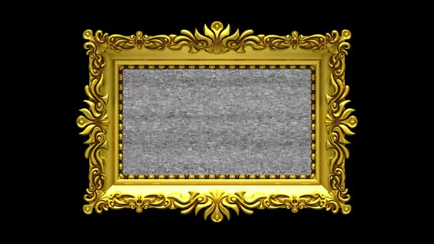 Black background. Tv noise and green chroma key plays on the screen in ornate gold picture frame. 3D animated intro.