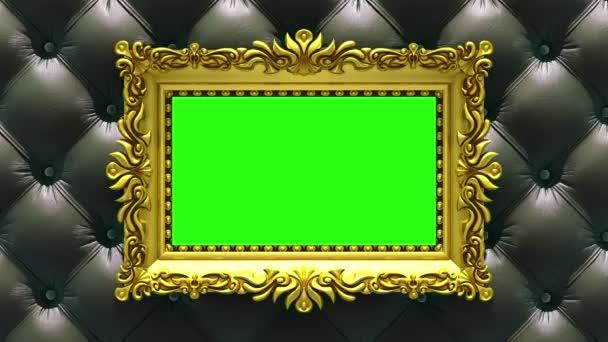Luxus arany képkeret háttérben a gyorsan változó textúrák-fa és Kárpitos. 3D animáció, varrat nélküli hurok, zöld képernyő.