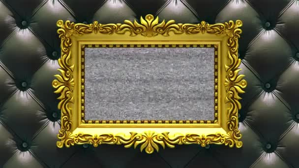 Black luxury upholstery on background. Tv noise and green chroma key plays on the screen in ornate gold picture frame. 3D animated intro.