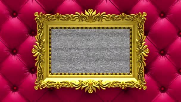 Rote Luxus Polsterung auf Hintergrund. TV-Lärm und grün-Chroma-Key spielt auf dem Bildschirm in gold verzierten Bilderrahmen. 3D animiertes intro.