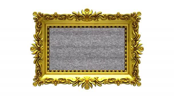 Fehér háttér. TV zaj és zöld chroma-kulcs játszik a képernyőn a díszes arany képkeret. 3D-s animációs intro.