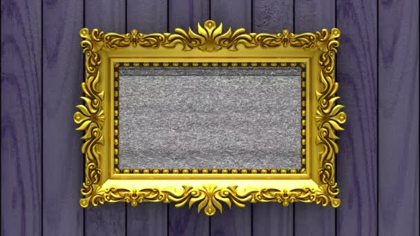 Purple wood on background. Tv noise and green chroma key plays on the screen in ornate gold picture frame. 3D animated intro.