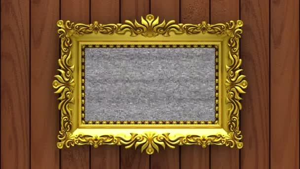 Hnědé dřevo na pozadí. Klíčování chroma šum a green TV hraje na obrazovce v zlatého rámu. 3D animované intro.